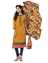 Women's Yellow & Dark Blue Embroidered Chanderi Semi Stitched Salwar Suit