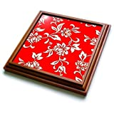 "3dRose trv_1064_1 Hibiscus Flower on Red Trivet with Ceramic Tile, 8 by 8"", Brown"