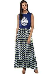 Akkriti by Pantaloons Women's A-Line Dress ( 205000005637870, Blue, Large)