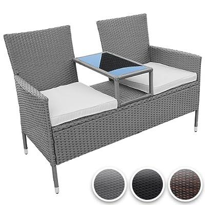 Miadomodo® RTSF06 Polyrattan Companion Seat with Integrated Table CHOICE OF COLOUR
