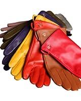 WARMEN Women's Genuine Nappa Leather Winter Warm Simple Plain Style Lined Gloves