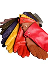 WARMEN Women's Genuine Nappa Leather Winter Warm Simple Plain Style Lined Gloves