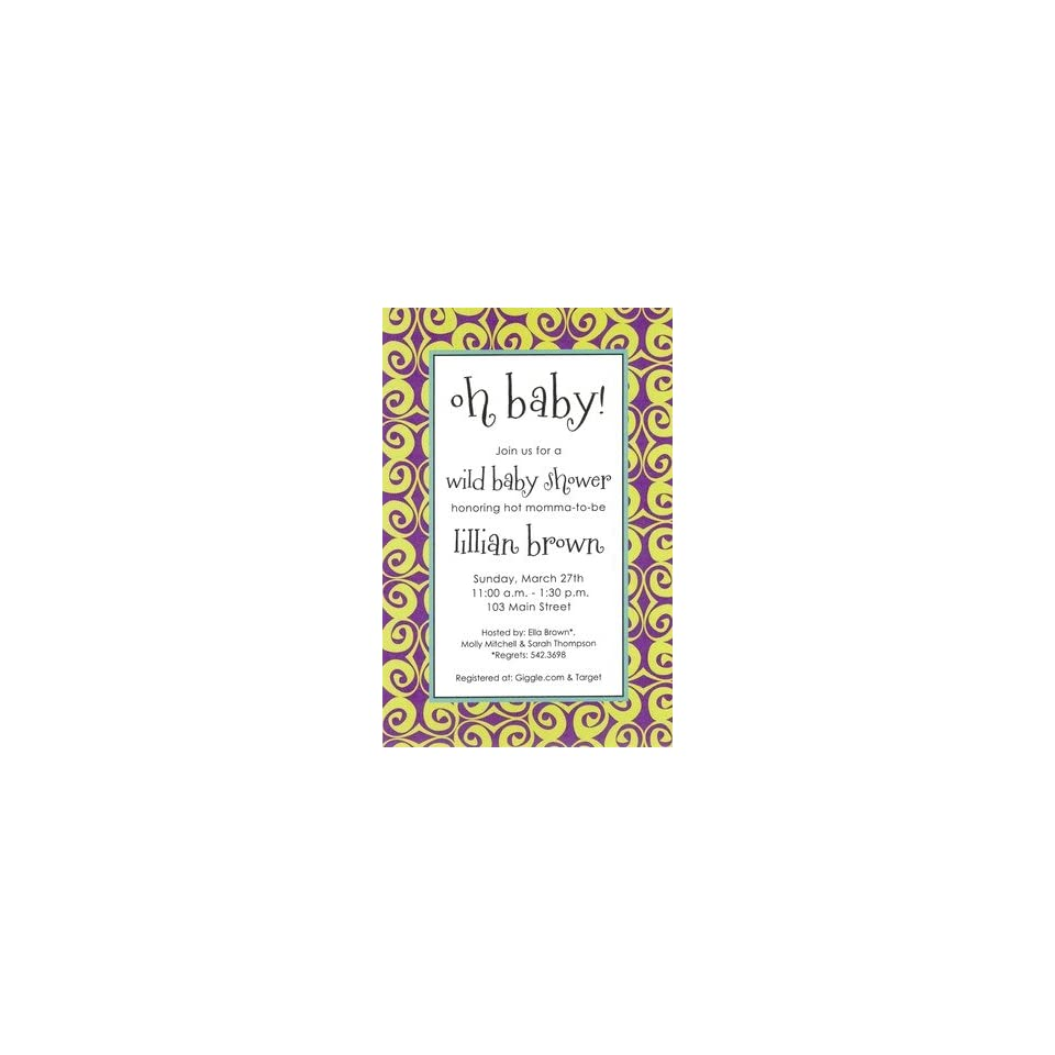 Swirlz Purple, Custom Personalized Baby Girl Shower Invitation, by Inviting Company
