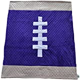 "Cozy Wozy Football Themed Minky Baby Blanket, Purple/Tan, 30"" X 36"""