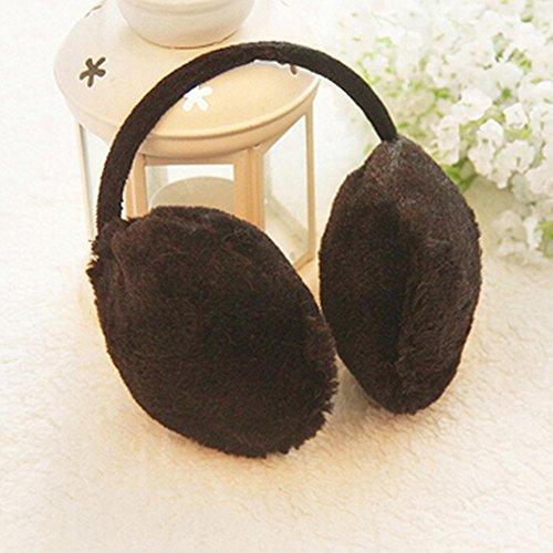 Spritech (TM)-Set invernale moda donna, colore: nero, Unisex, in morbido peluche raffigurante un paraorecchie, in finta pelliccia