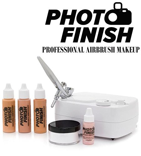 Photo Finish Professional Airbrush Cosmetic Makeup System Kit / Chose Shades- Light Medium or Tan 3pc Foundation Set with Blush and Silica Finishing Powder- Chose Matte or Luminous Finish Kit (Light- Luminous finish) (Airbrush Spray Makeup compare prices)