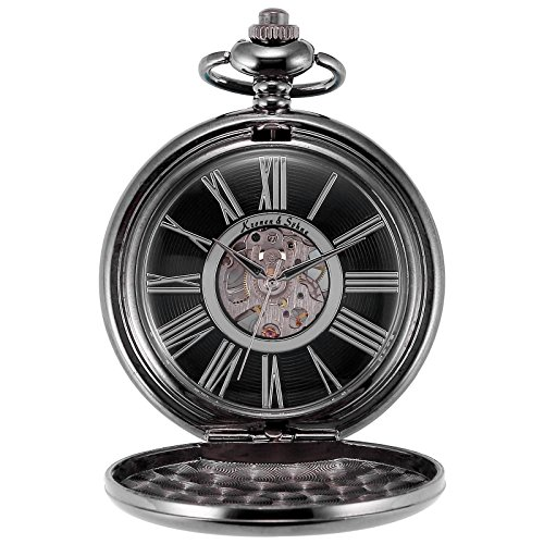 ks-steampunk-mechanical-black-smooth-case-roman-numbers-pocket-watch-with-chain-ksp035