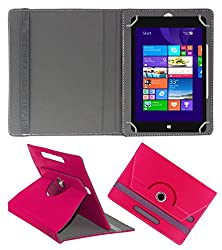 ACM ROTATING 360° LEATHER FLIP CASE FOR NOTION INK CAIN 10 TABLET STAND COVER HOLDER DARK PINK