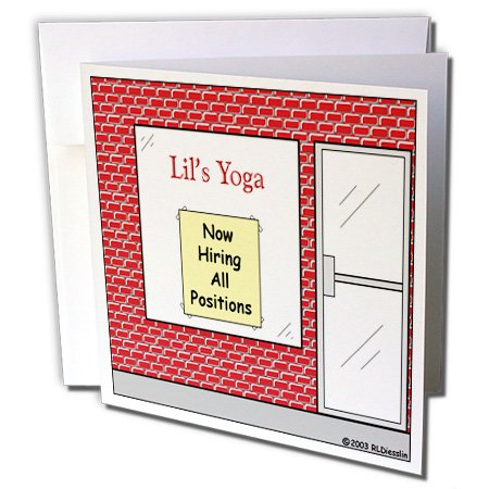 3dRose Lils Yoga - Now Hiring - All Positions - Greeting Cards, 6 x 6