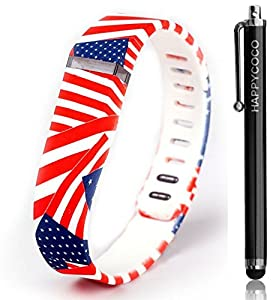 HAPPYCOCO New 2015 USA Flag Style Replacement Band with Clasp for Fitbit Flex , Band only no tracker included