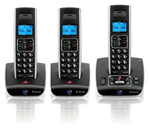 BT Synergy 5500 DECT Trio Cordless Phone with Answer Machine - Black / Silver