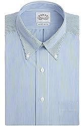 Eagle Non-Iron Buttondown Collar Broadcloth Blue Stripe Dress Shirt