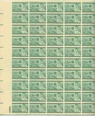 Farm, Club Emblem, Boy and Girl Full Sheet of 50 x 3 Cent US Postage Stamps NEW