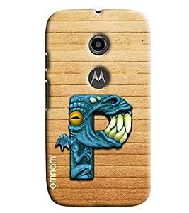 Omnam Single Name Alphabet P Printed Designer Back Cover Case For Moto E2