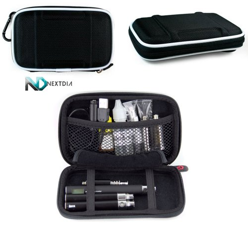 Electronic Cigarette Case - Compatible with - Pinnacle Pro Portable Vaporizer / Semi-hard Shell (Black Nylon) (Pinnacle Vaporizer compare prices)