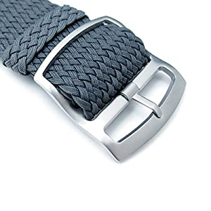 22 mm Correa de Reloj de perlón MiLTAT, de Nylon trenzado de color gris oscuro, hebilla de bloqueo de la escalera con chorro de arena de MiLTAT