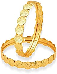 Meenaz Laxmi Coin Temple Jewellery Gold Plated Bangles For Womens And Girls Bangles Of 2 Sets BA120