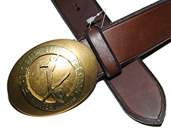 Polo Ralph Lauren Mens Brown Vintage Leather Belt Brass Ski Olympic 40