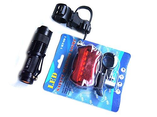 Kit Eclairage Vélo Composé d'une Lampe Torche 700 Lumens d'un Support Vélo et d'un Feu Arrière Rouge 5 Led
