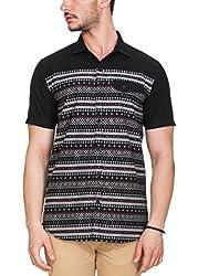 Zovi Cotton Slim Fit Black Printed Half Sleeve Shirt(12106600701_44)