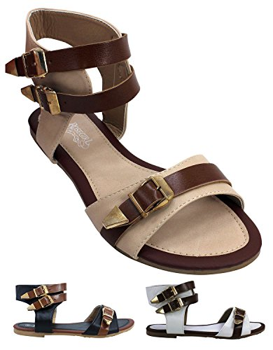 Enimay Women's Gladiator Slingback Sandals Slip On Flip Flops Shoes Buckle Strap