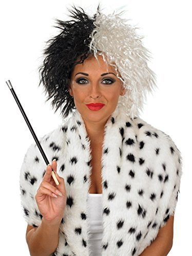 Mega Fancy Dress Women's Mega Fancy Evil Cruella Wig And Cigarette Holder Fancy Costume Accessory One Size Black (Cruella Deville Cigarette Holder compare prices)