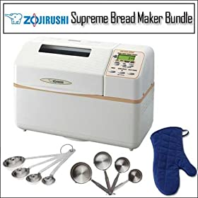 Zojirushi BB-CEC20 Home Bakery Supreme Breadmaker With Heavyweight Stainless Steel Measuring Spoons And Stainless Steel Measuring Cups Set Including Denim Oven Mitt