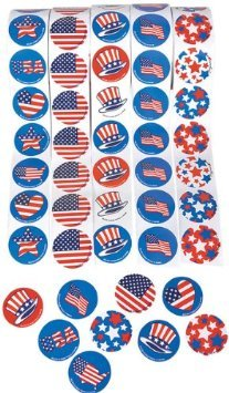 ~ 5 Rolls ~ Patriotic Stickers ~ 500 Stickers