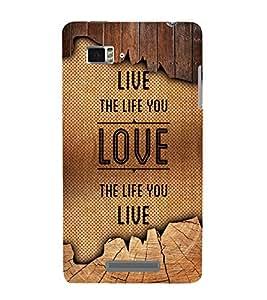 Live The Life You Love 3D Hard Polycarbonate Designer Back Case Cover for Lenovo Vibe Z K910