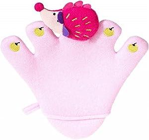 Bieco 04003063 Waschhandschuh / la marioneta de mano, alrededor de 24,5 x 22 x 1,5 cm, de color rosa