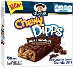Quaker Dark Chocolate Chewy Dipps Granola Bars, 6 Bars per Pack (Pack of 6)