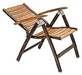 Teak Folding Chair -Aluminum Powder Coated Frame -Lightweight 21 Pounds - 35