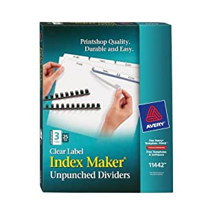 Avery Index Maker Clear Label Dividers, 3-Tab, 8.5 x 11 Inches,  25 Sets (11442)