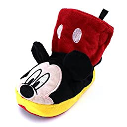 Mickey Mouse Kids Boot Slippers (Mickey Black/Red, M (5/6) M US Toddler)