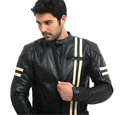 UTAH FLATS CAFE RACER Retro Biker / Motorcycle Leather Jacket - removable CE armour - Medium