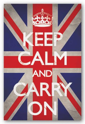 Keep Calm and Carry On (Motivational, Union Jack Flag) Art Poster Print - 24x36