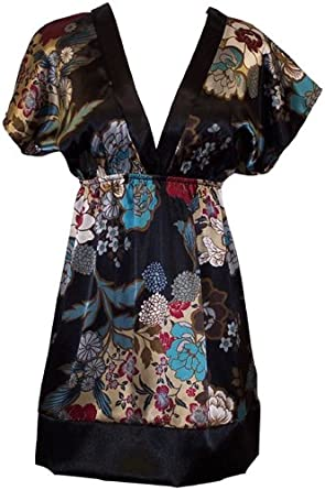 Floral Satin Kimono Top, Large, Silver-Teal
