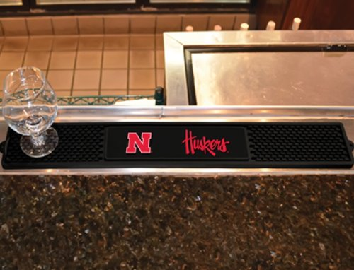 Fanmats Sports Team Logo Design University of Nebraska Rubber Non Spill Safe Serving Bar Kitchen Drink Mat 3.25x24 (Bar Service Mat With Beer Logo compare prices)