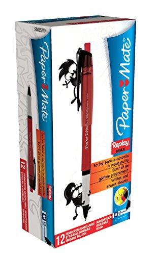 papermate-replaymax-kugelschreiber-loschbar-10-mm-schreibspitze-07-mm-strichstarke-12-stuck-rot