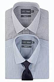 2 Pack Easycare Checked & Striped Shirts with Tie [T11-2278B-S]