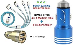 Woogor 4 in 1 USB Charging Cable And 2 in 1 Bullet Car Charger Compatible to All Your Mobile Smart Phone Devices, iPhones Android Phones Windows Phones and Tablets..Random Colors...