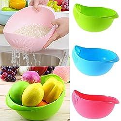 EVANA Kitchen Wash Rice Thick Sieve Pot Plastic Drain vegetable washing Basket Fruit Basket Food Storage Accessories Home (Multi Color)