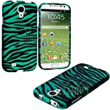 myLife (TM) Teal Blue Zebra Stripes Series (2 Piece Snap On) Hardshell Plates Case for the Samsung Galaxy S4
