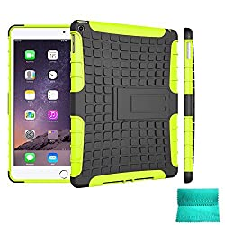 iPad Air 2 Case,Moment Dextrad [Non-Slip][Perfect Fit][Stand Feature] Dual Layer Armor Defender Full-body Rugged Hybrid Protective Case Cover for Apple iPad Air 2 Tablet (Green)