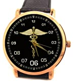 Massive 40 mm Doctor's / Physician's /Surgeon's Hippocrates Staff Gold-Tone Wrist Watch. Classic!