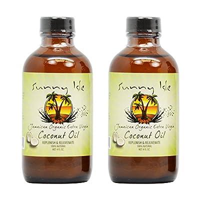 "Sunny Isle Jamaican Organic Extra Virgin Coconut Oil 4oz ""Pack of 2"" w/Applicator"