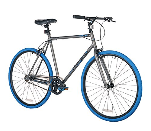 Takara Sugiyama Flat Bar Fixie Bike, Gray/Blue, Large/58cm Frame