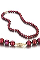 Cranberry Freshwater Cultured Pearl Necklace, 14k Yellow Gold Fishhook Clasp, 8-9mm AA+ Quality Cultured Pearls, 18 Inch Necklace