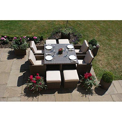 Dorset Rattan-Gartenmöbel-Set, 5-teilig, quadratisch, mit Hocker