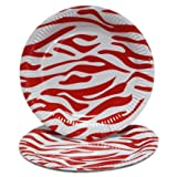 PrettyurParty Zebra Print Paper Plates (Pack Of 10) - Red